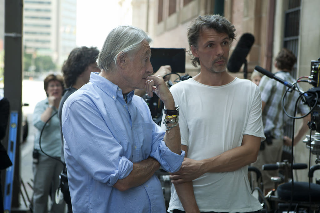 "Director Joel Schumacher and director of photography Eigil Bryld on the set of Netflix's ""House of Cards."""