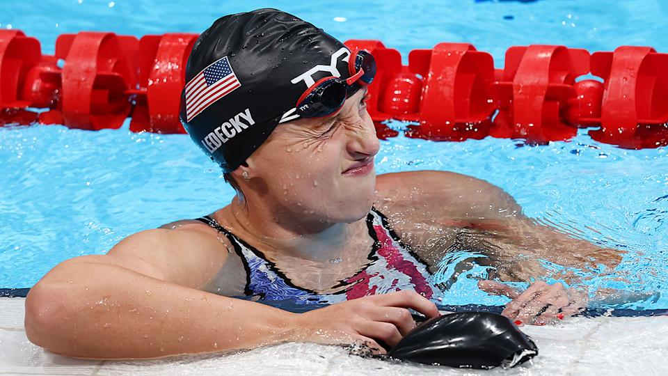 Katie Ledecky, pictured here after finishing fifth in the 200m freestyle final at the Olympics.