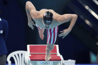 Nic Fink of the United States starts in the men's 200-meter breaststroke final at the 2020 Summer Olympics, Thursday, July 29, 2021, in Tokyo, Japan. (AP Photo/Matthias Schrader)