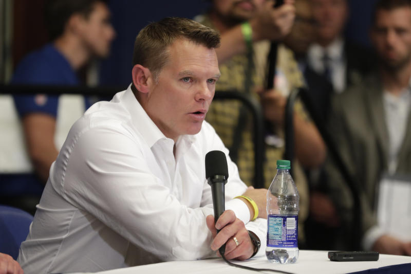 Indianapolis Colts general manager Chris Ballard speaks during a news conference after the team's NFL preseason football game against the Chicago Bears, Saturday, Aug. 24, 2019, in Indianapolis. Colts quarterback Andrew Luck announced that he his retiring at age 29. (AP Photo/Michael Conroy)