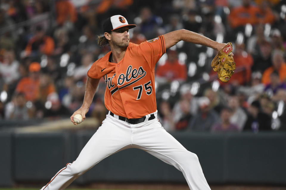 Baltimore Orioles starting pitcher Chris Ellis (75) delivers a pitch during the first inning of a baseball game against the Texas Rangers, Saturday, Sept. 25, 2021, in Baltimore. (AP Photo/Terrance Williams)