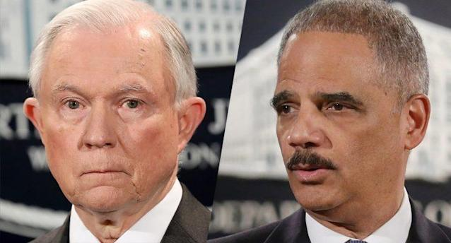 Jeff Sessions and Eric Holder. (Photos: Win McNamee/Getty Images – Chip Somodevilla/Getty Images)