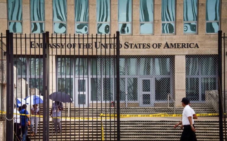 The US embassy in Havana, seen here on September 29, 2017, after a series of mysterious health incident involving some of its diplomats prompted Washington to withdraw more than half its personnel