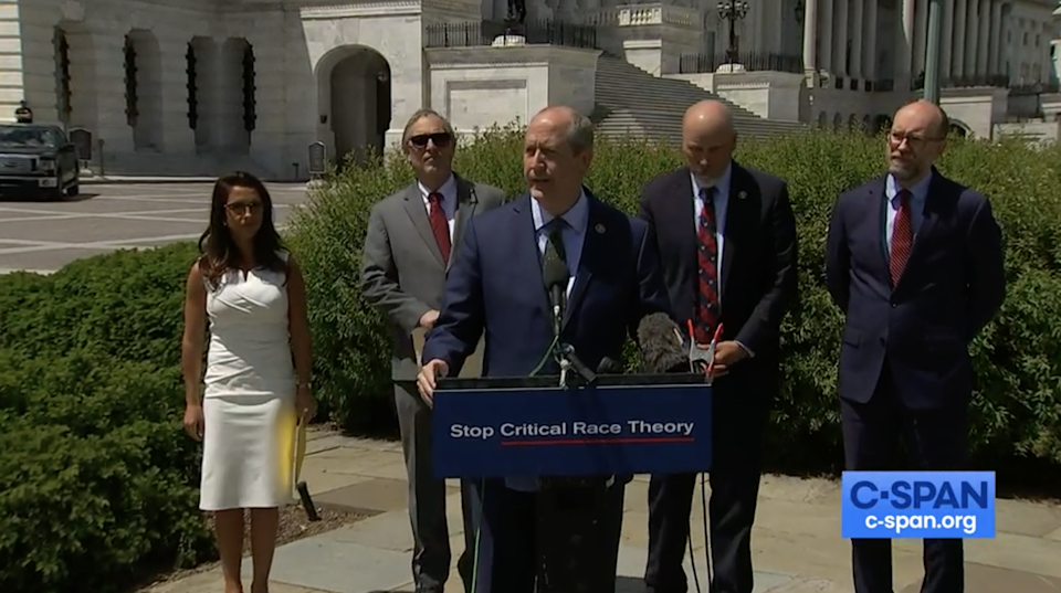 <p>Republicans from the House Freedom Caucus unveil legislation to stop the teaching of critical race theory</p> (CSPAN)