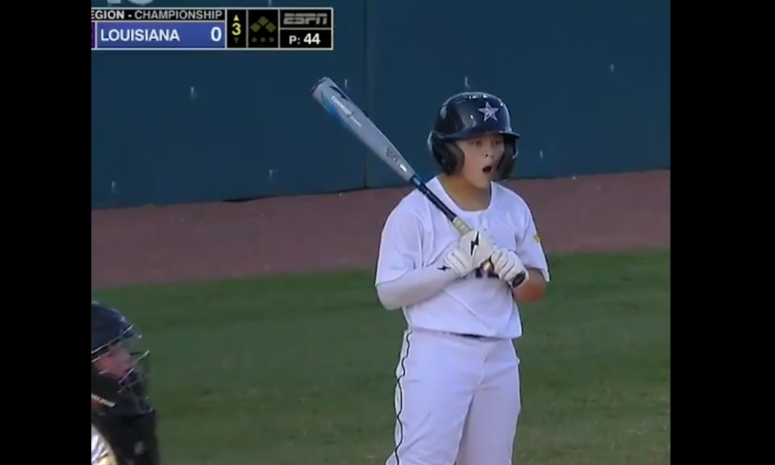 Little League World Series player can't believe an awful strike call.