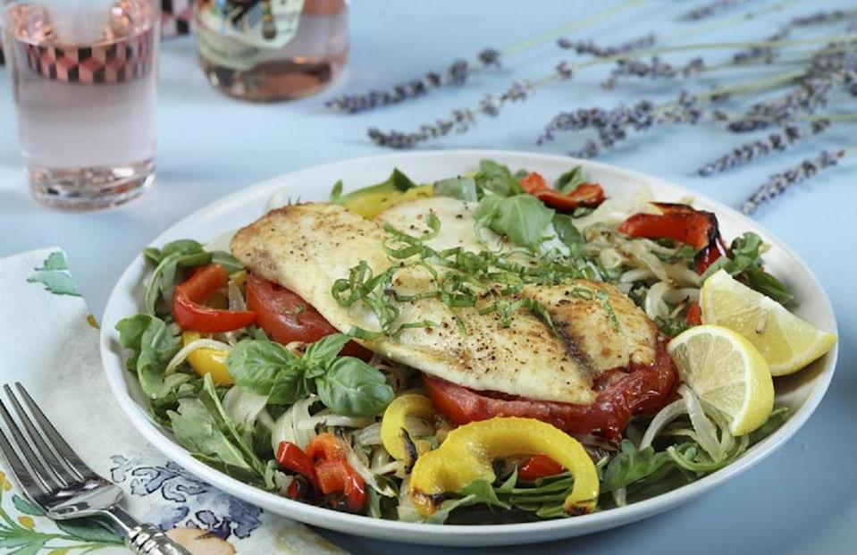 """<p>If you're a <a href=""""https://www.thedailymeal.com/best-recipes/24-foolproof-seafood-recipes-anyone-can-cook-slideshow?referrer=yahoo&category=beauty_food&include_utm=1&utm_medium=referral&utm_source=yahoo&utm_campaign=feed"""" rel=""""nofollow noopener"""" target=""""_blank"""" data-ylk=""""slk:pescatarian"""" class=""""link rapid-noclick-resp"""">pescatarian</a>, chances are you're always looking for new and yummy ways to get in your protein. This roasted pepper and fish salad is packed with it. For the fish, use a mild option, such as black bass, cod, haddock or tilapia, that doesn't overpower the other flavors in the salad.</p> <p><a href=""""https://www.thedailymeal.com/recipes/provencal-roasted-pepper-fish-salad?referrer=yahoo&category=beauty_food&include_utm=1&utm_medium=referral&utm_source=yahoo&utm_campaign=feed"""" rel=""""nofollow noopener"""" target=""""_blank"""" data-ylk=""""slk:For the Provencal Roasted Pepper and Fish Salad recipe, click here."""" class=""""link rapid-noclick-resp"""">For the Provencal Roasted Pepper and Fish Salad recipe, click here.</a></p>"""