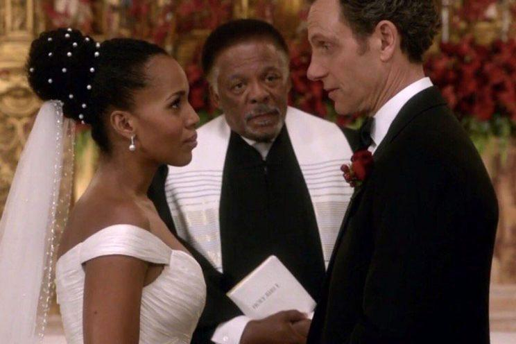 The wedding of Olivia Pope (played by Kerry Washington) on Scandal