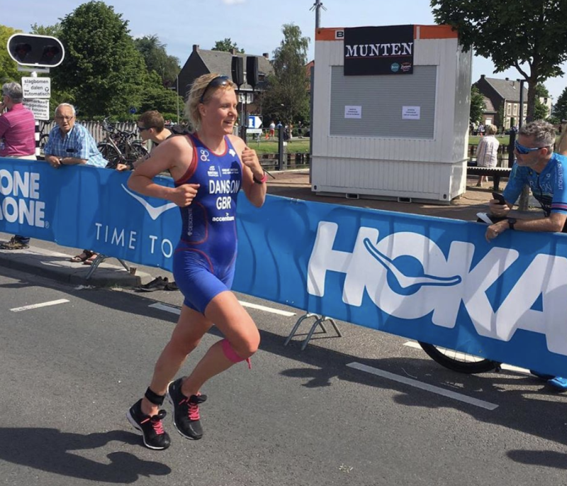 Claire Danson competing for Team GB in May 2019.