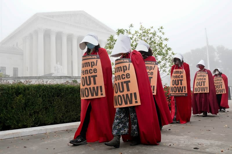 Activists rally in front of Supreme Court to oppose Barrett nomination in Washington