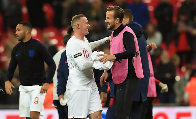 Kane congratulates Rooney after the final whistle (Mike Egerton/PA)