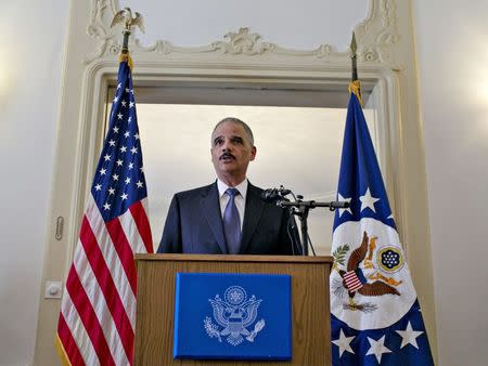 U.S. Attorney General Eric Holder speaks at the U.S. ambassador's residence in Oslo