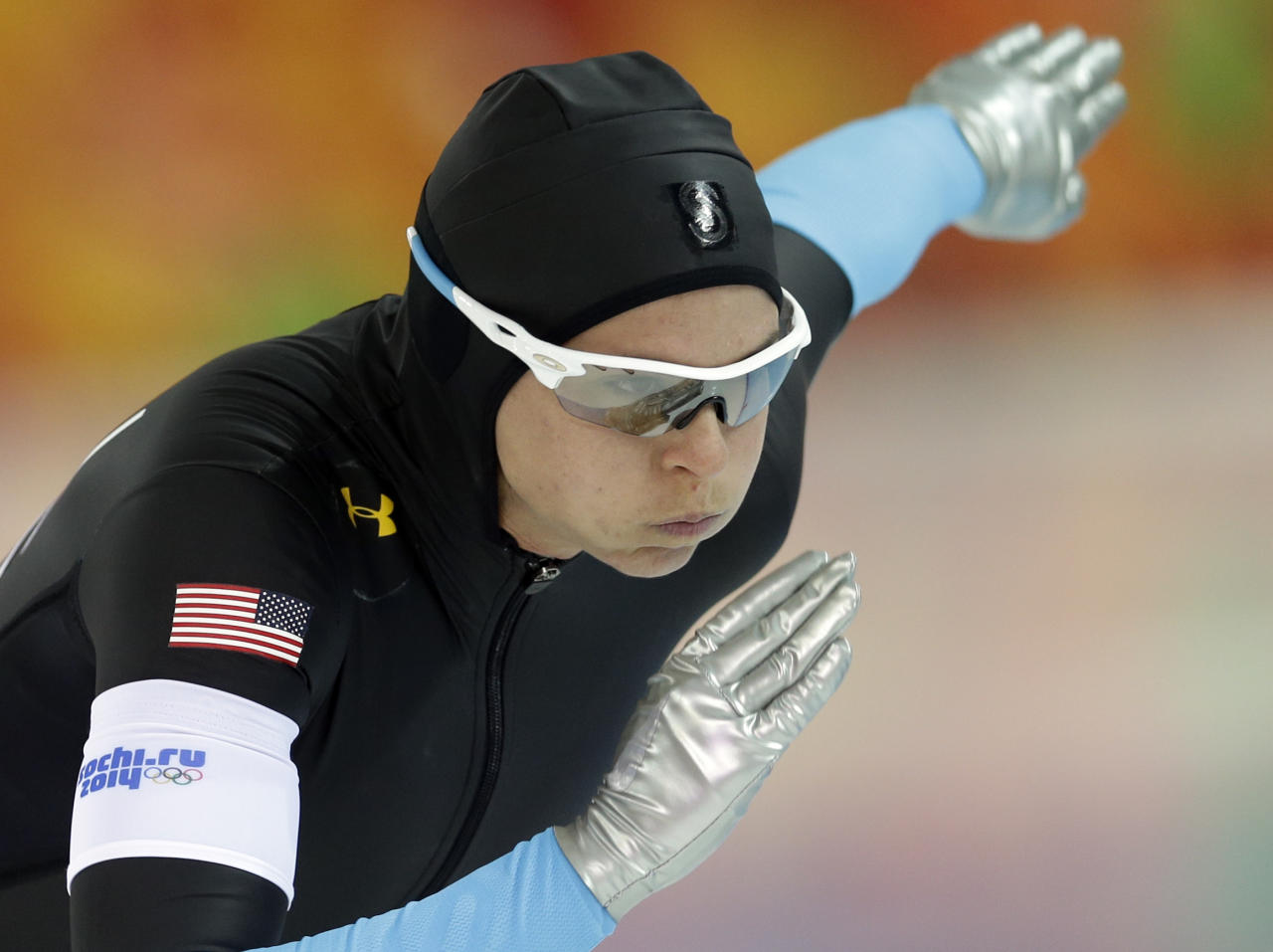 Brittany Bowe of the U.S. takes the start during the women's 1,500-meter speedskating race at the Adler Arena Skating Center during the 2014 Winter Olympics in Sochi, Russia, Sunday, Feb. 16, 2014. (AP Photo/Patrick Semansky)