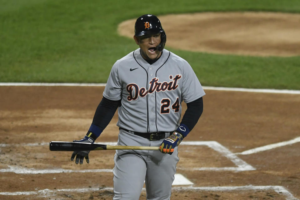 Detroit Tigers' Miguel Cabrera reacts after striking out during the first inning of the second baseball game of a doubleheader against the Chicago White Sox, Thursday, April 29, 2021, in Chicago. (AP Photo/Paul Beaty)