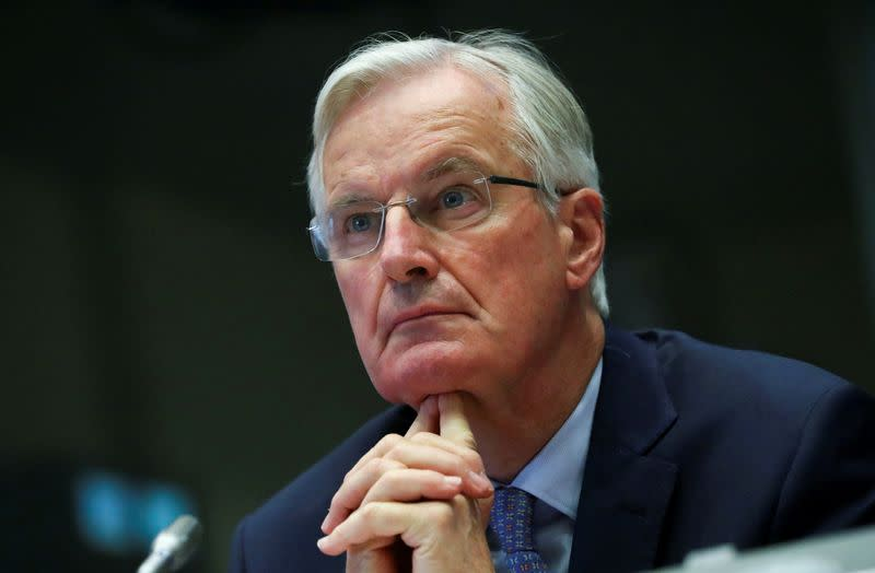 FILE PHOTO: The European Union's Brexit negotiator Barnier addresses the European Economic and Social Committee, in Brussels