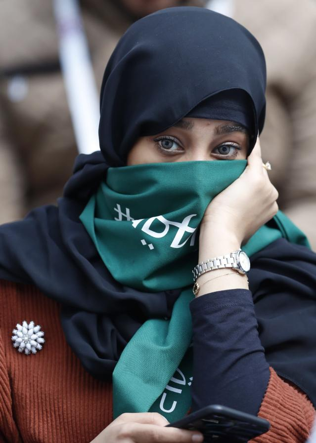 A Saudi woman seen ahead of the group A match between Russia and Saudi Arabia which opens the 2018 soccer World Cup at the Luzhniki stadium in Moscow, Russia, Thursday, June 14, 2018. (AP Photo/Hassan Ammar)