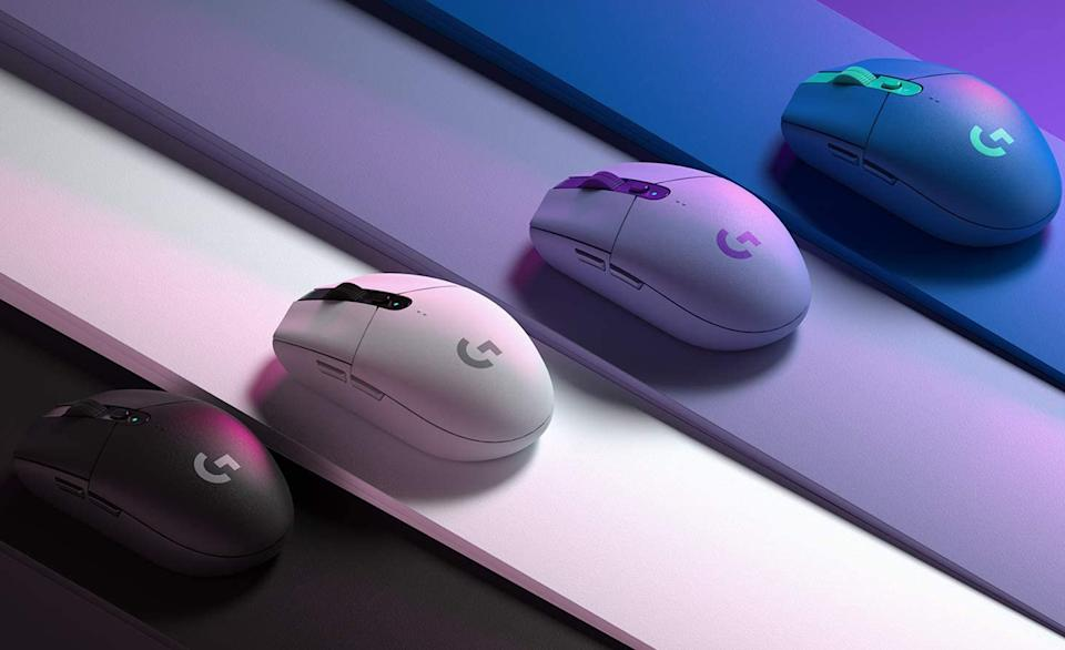 The Logitech G305 displayed in four colors.