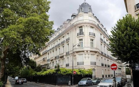 An apartment building owned by Jeffrey Epstein in the 16th arrondissement of Paris - Credit: JACQUES DEMARTHON/AFP