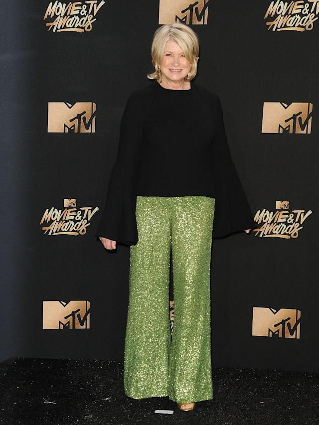 <p>Martha Stewart rocked black and green. (Photo: Getty Images) </p>
