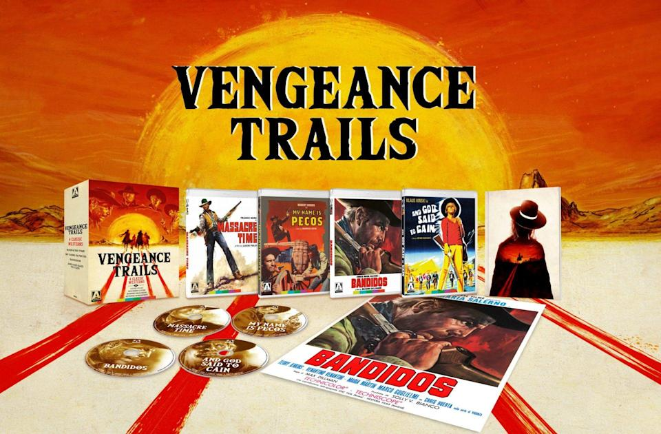 The Vengeance Trails Blu-ray box set, displayed to show the main box cover, the covers of the four movies in question, the discs set separately, and a poster of the movie Bandidos.