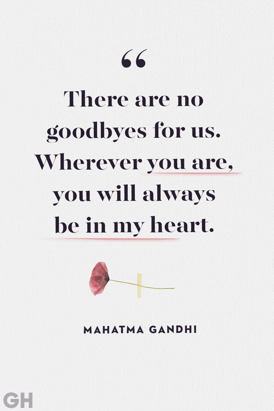 <p>There are no goodbyes for us. Wherever you are, you will always be in my heart.</p>