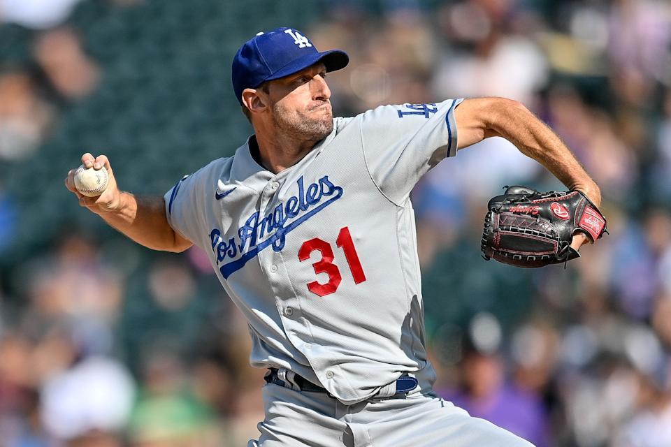 DENVER, CO - SEPTEMBER 23:  Los Angeles Dodgers starting pitcher Max Scherzer (31) pitches during a game between the Colorado Rockies and the Los Angeles Dodgers at Coors Field in Denver, Colorado on September 23, 2021. (Photo by Dustin Bradford/Icon Sportswire via Getty Images)