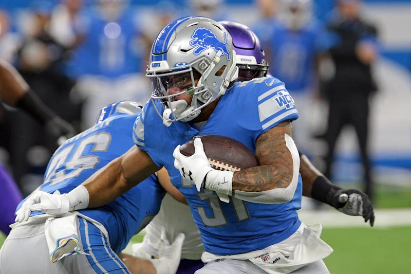 Detroit Lions running back Ty Johnson (31) runs the ball during the first half of an NFL football game against the Minnesota Vikings in Detroit, Michigan USA, on Sunday, October 20, 2019 (Photo by Jorge Lemus/NurPhoto via Getty Images)