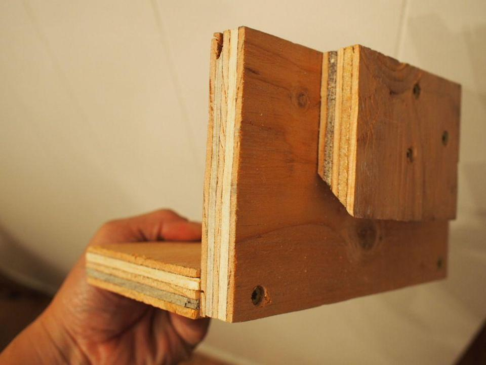 <p>Attach two pieces of small plywood using wood screws to create your shelf and then attach the small cleat to the back of the shelf using wood glue and wood screws.</p>