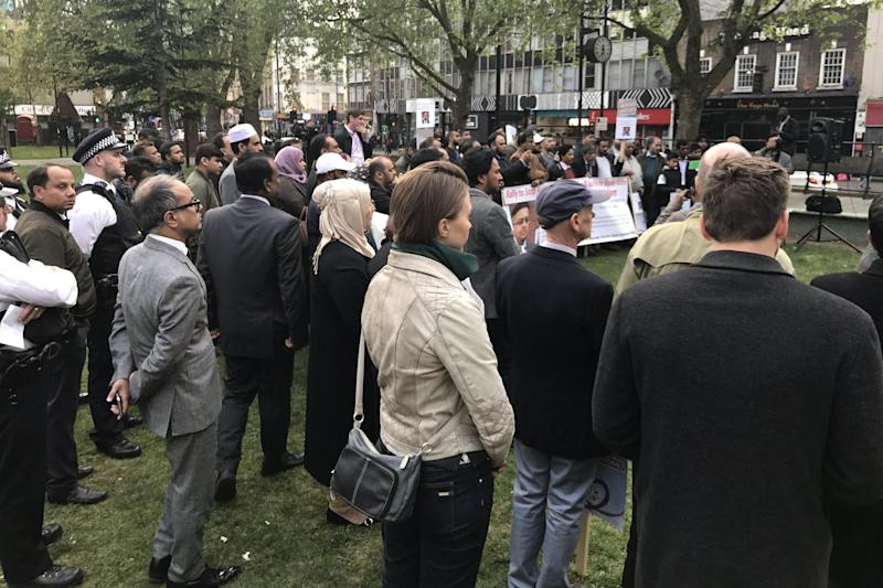 Crowds gather for a protest after a young man was stabbed to death near his home in Mile End: Tower Hamlets Citizens