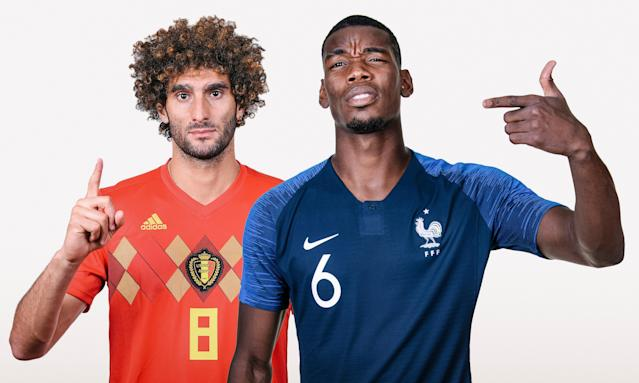 Marouane Fellaini of Belgium and Paul Pogba of France – clubmates at Manchester United but on opposing sides in the World Cup semi-final in Nizhny Novgorod.