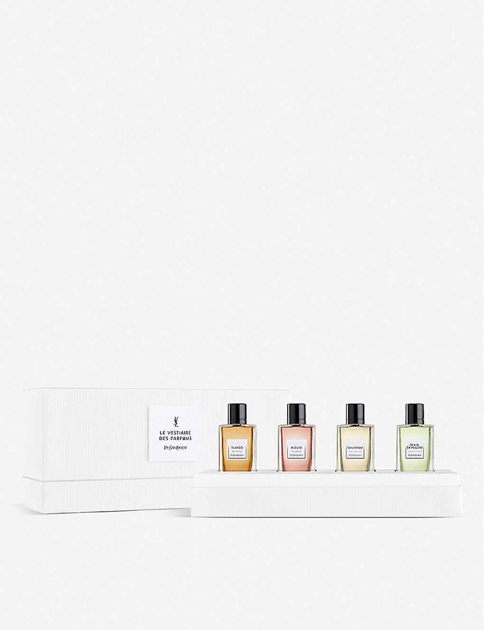 """<p><strong>Yves Saint Laurent</strong></p><p>selfridges.com.us</p><p><strong>$110.00</strong></p><p><a href=""""https://go.redirectingat.com?id=74968X1596630&url=https%3A%2F%2Fwww.selfridges.com%2FUS%2Fen%2Fcat%2Fyves-saint-laurent-le-vestiaire-des-parfums-discovery-set_R00132815&sref=https%3A%2F%2Fwww.seventeen.com%2Flife%2Ffriends-family%2Fg1088%2Fholiday-gifts-for-dad%2F"""" rel=""""nofollow noopener"""" target=""""_blank"""" data-ylk=""""slk:Shop Now"""" class=""""link rapid-noclick-resp"""">Shop Now</a></p><p>With four different scents, he won't even notice when you steal a spray for yourself. </p>"""