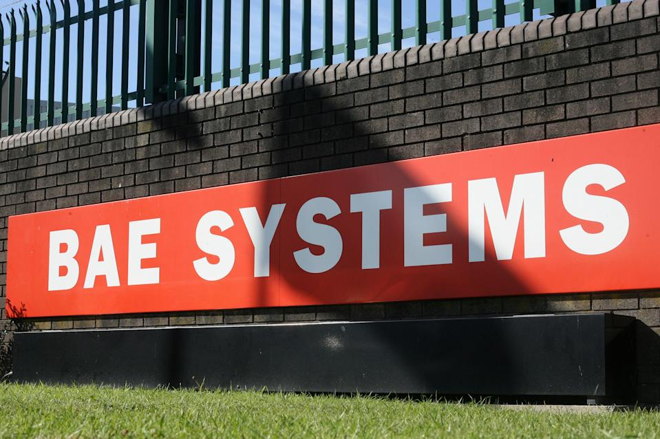 "The BAE Systems logo is pictured at the BAE Systems site at Brough in East Yorkshire, north east England, on September 27, 2011. British arms manufacturer BAE Systems axed 3,000 jobs on Tuesday, mainly at its military aircraft division, as reduced spending by governments hits demand for Eurofighter Typhoon and F-35 fighter jets. ""Our customers are facing huge pressures on their defence budgets and affordability has become an increasing priority,"" BAE Systems chief executive Ian King said in a statement unveiling the ""nearly 3,000"" job losses. AFP PHOTO / LINDSEY PARNABY        (Photo credit should read LINDSEY PARNABY/AFP/GettyImages)"