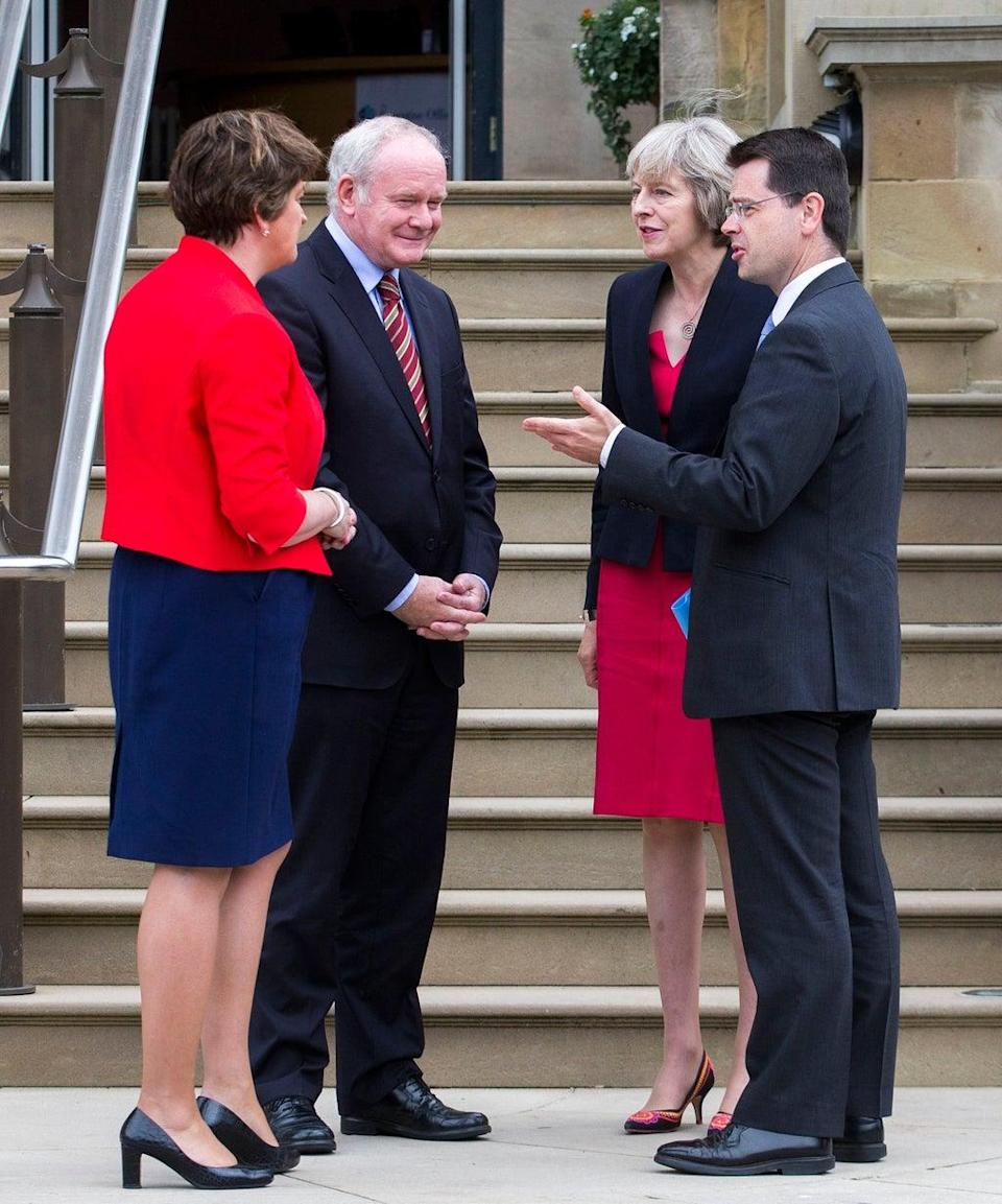 James Brokenshire and former prime minister Theresa May meet ex-first minister Arlene Foster and late deputy first minister Martin McGuinness (Liam McBurney/PA) (PA Archive)