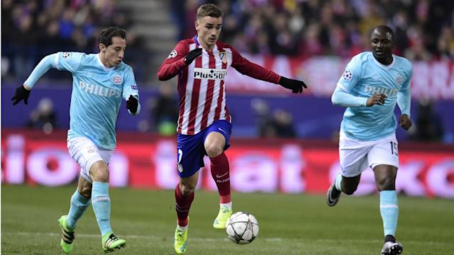 Juanfran fired Atletico Madrid into the quarter-finals of the Champions League at the expense of PSV after Luciano Narsingh hit the bar.