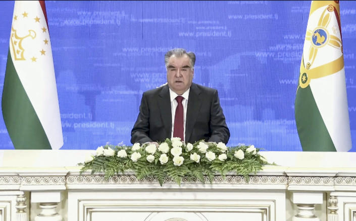 In this image taken from video provided by UN Web TV, Emomali Rahmon, President of Tajikistan, remotely addresses the 76th session of the United Nations General Assembly in a pre-recorded message, Thursday Sept. 23, 2021 at UN headquarters. (UN Web TV via AP)