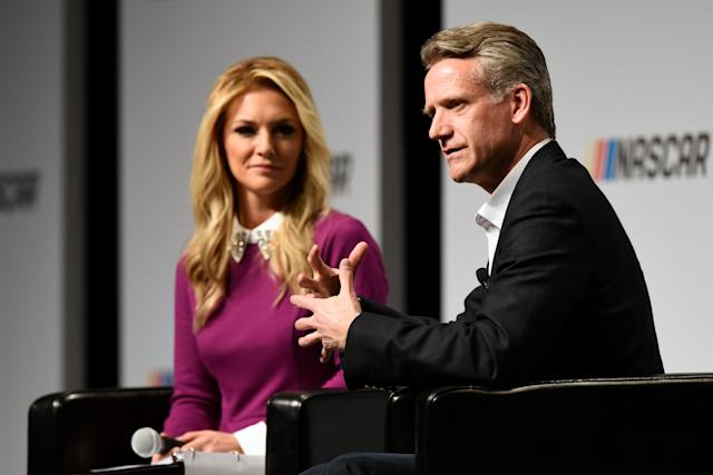 CHARLOTTE, NC – JANUARY 19: Steve Phelps, chief marketing officer for NASCAR, and emcee Danielle Trotta speak during the NASCAR Marketing and Communications Summit on January 19, 2017 in Charlotte, North Carolina. (Photo by Jared C. Tilton/Getty Images)
