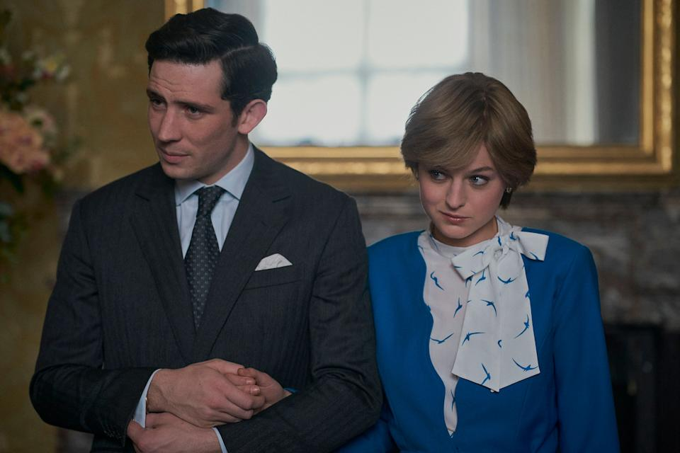 "Josh O'Connor as Prince Charles and Emma Corrin as Princess Diana in ""The Crown."" (Photo: Des Willie / Netflix)"