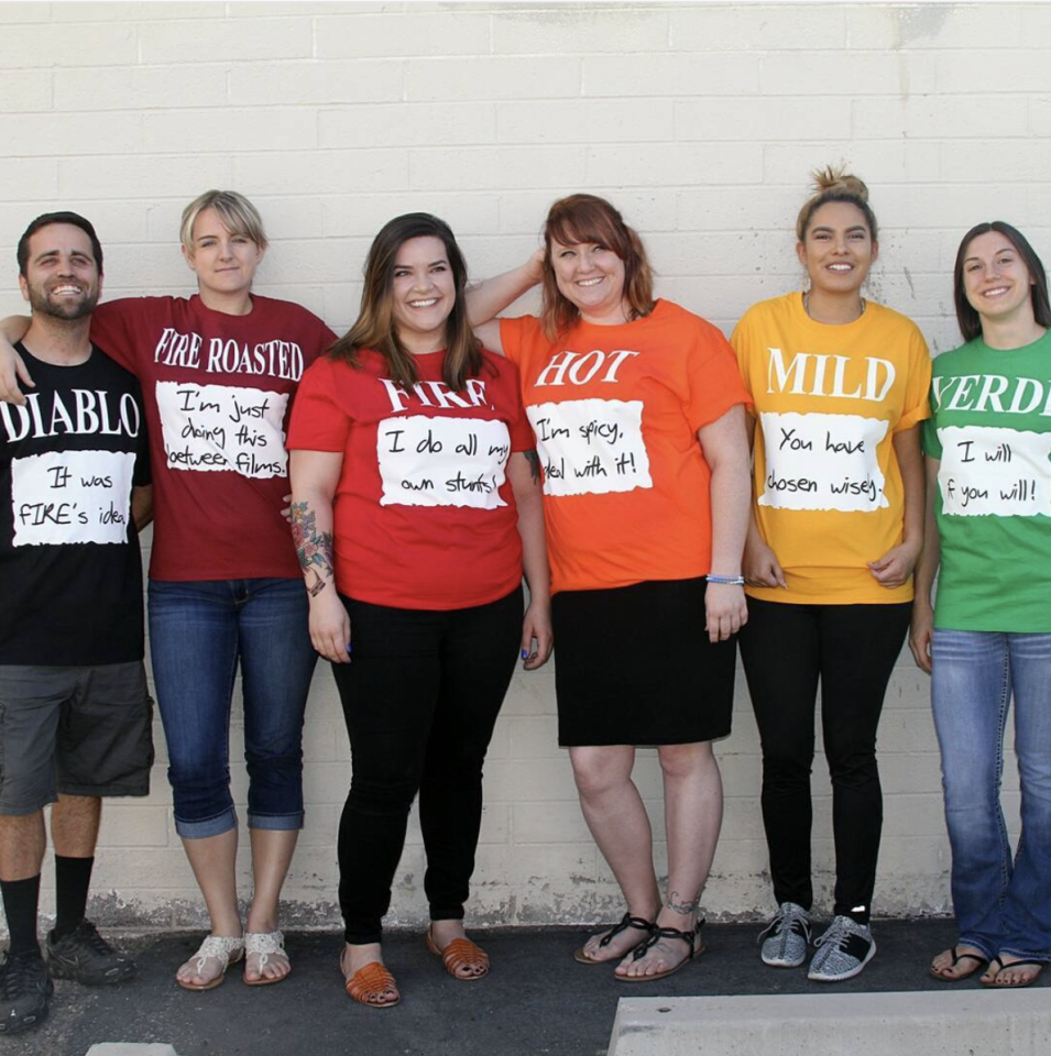 """<p>Play to your individual personalities with this DIY hot sauce costumes.  </p><p><a class=""""body-btn-link"""" href=""""https://www.amazon.com/Gildan-Cotton-Assorted-Colors-Medium/dp/B01DDELN0U/?tag=syn-yahoo-20&ascsubtag=%5Bartid%7C10072.g.27868790%5Bsrc%7Cyahoo-us"""" target=""""_blank"""">Shop Colored T-Shirts</a></p>"""