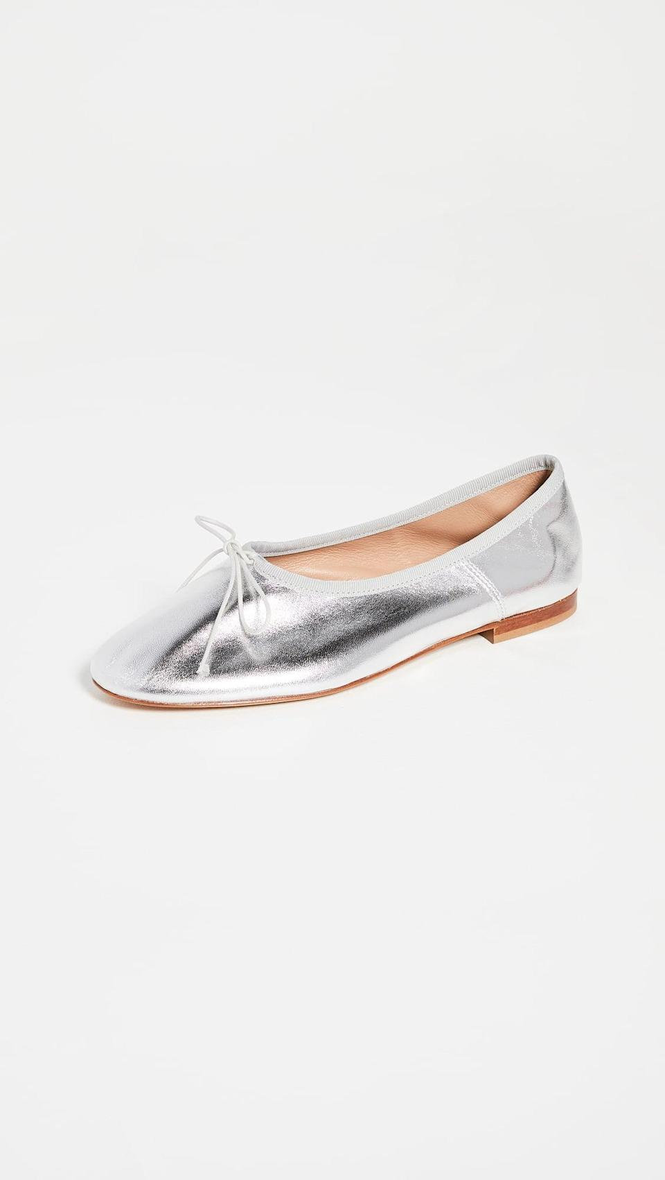 <p>Add some metallic shine to your wardrobe with the <span>Mansur Gavriel Dream Ballerina Flats</span> ($375).</p>