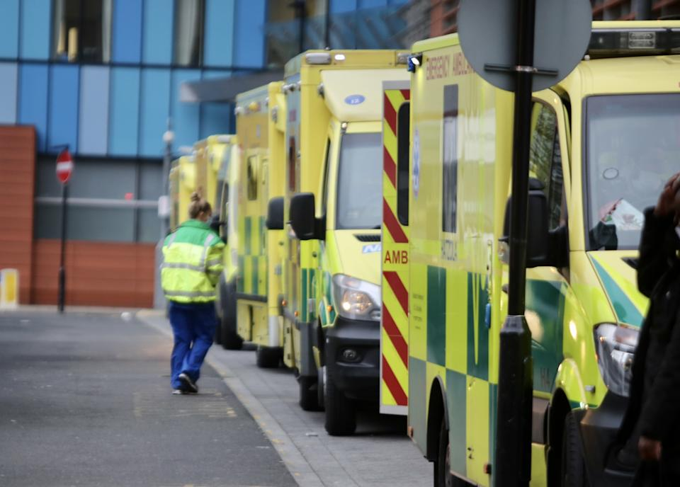 LONDON, UNITED KINGDOM - DECEMBER 29: A great number of ambulances wait outside London Royal Hospital as the number of coronavirus (Covid-19) cases surge due the new variant that considerably more transmissible than previous strains in London, United Kingdom on December 29, 2020. (Photo by Hasan Esen/Anadolu Agency via Getty Images)