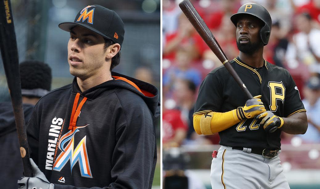 """<a class=""""link rapid-noclick-resp"""" href=""""/mlb/players/9320/"""" data-ylk=""""slk:Christian Yelich"""">Christian Yelich</a> (L) and former MVP <a class=""""link rapid-noclick-resp"""" href=""""/mlb/players/7977/"""" data-ylk=""""slk:Andrew McCutchen"""">Andrew McCutchen</a> are among the stars traded by the Marlins and Pirates this winter. (AP)"""