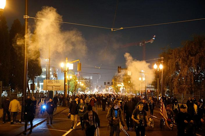 <p>Smoke rises during a protest against the election of Republican Donald Trump as President of the United States in Portland, Oregon on Nov. 10, 2016. (Photo: William Gagan/Reuters) </p>