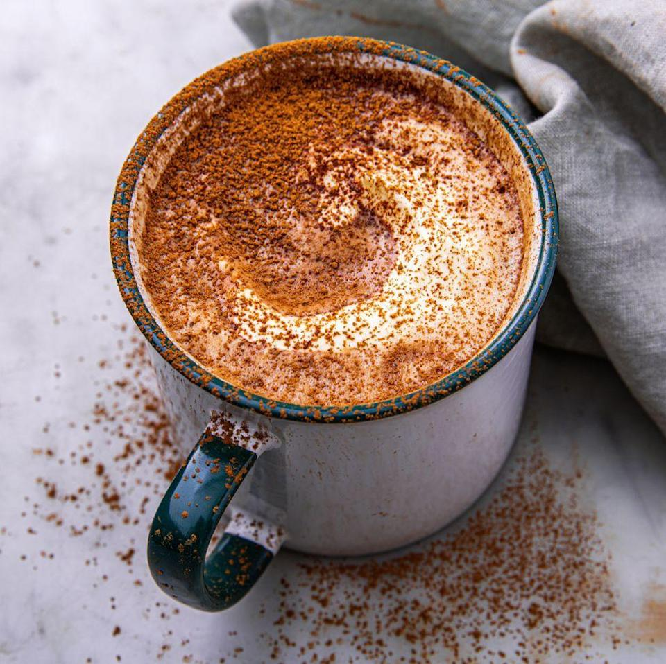"""<p>Making your <a href=""""https://www.delish.com/uk/cocktails-drinks/a28924511/slow-cooker-hot-chocolate-recipe/"""" rel=""""nofollow noopener"""" target=""""_blank"""" data-ylk=""""slk:hot chocolate"""" class=""""link rapid-noclick-resp"""">hot chocolate</a> with double cream instead of milk doesn't just make it Keto friendly, it also makes it so much better. Sweeten it with your favourite Keto friendly sweetener to make it the best warm Keto winter drink there is. </p><p>Get the <a href=""""https://www.delish.com/uk/cocktails-drinks/a30650619/keto-hot-chocolate-recipe/"""" rel=""""nofollow noopener"""" target=""""_blank"""" data-ylk=""""slk:Keto Hot Chocolate"""" class=""""link rapid-noclick-resp"""">Keto Hot Chocolate</a> recipe.</p>"""