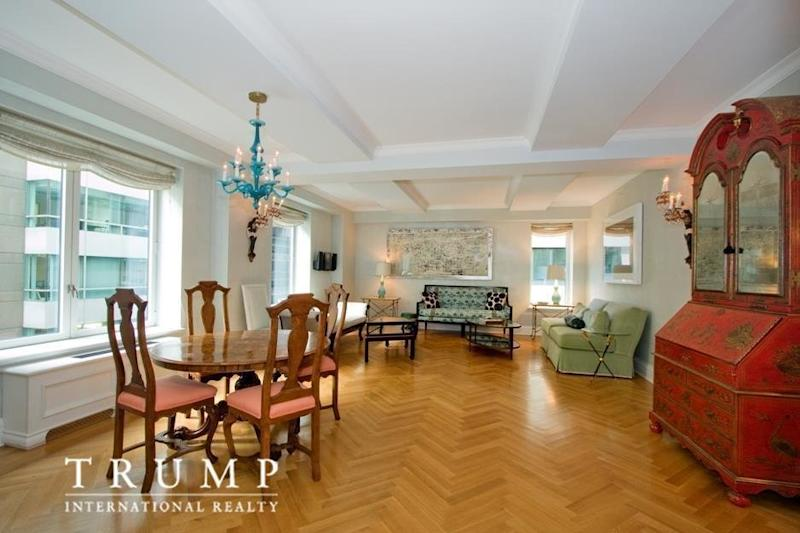 "Trump's 1,549 square-foot unit has ""<a href=""https://www.trumpinternationalrealty.com/listings/502-park-avenue-new-york-trmp1608433/"" target=""_blank"">the city's most coveted address</a>,"" according to its listing with Trump International Realty. (Photo source: Trump International Realty New York via StreetEasy listing)"