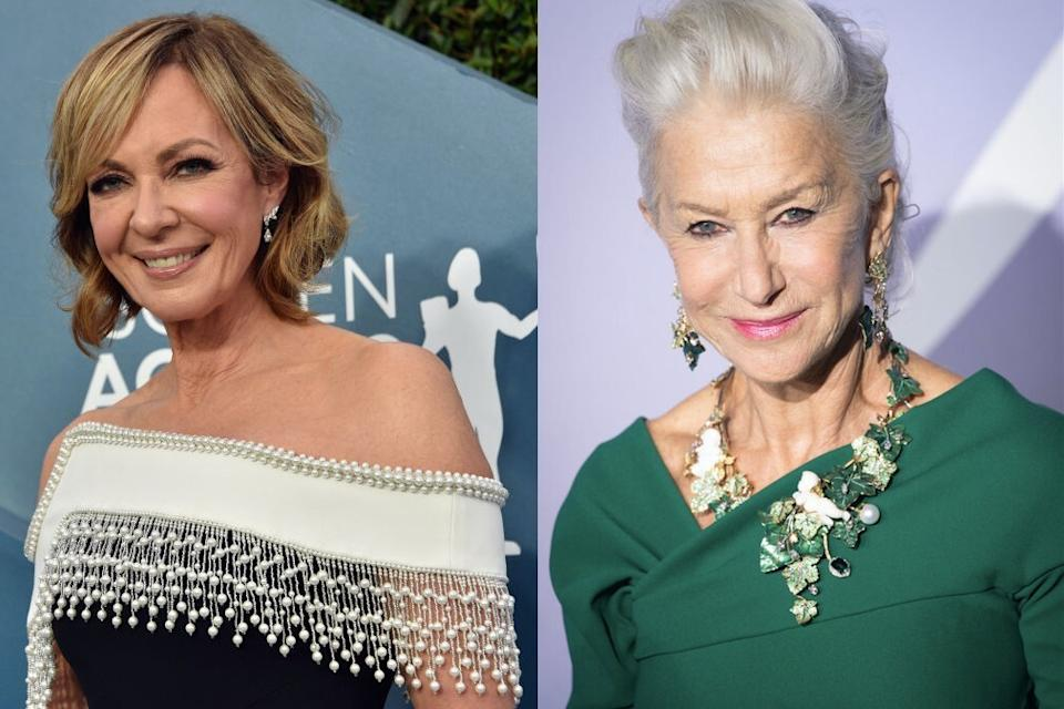 How Helen Mirren inspired Allison Janey to embrace her natural grey hair. (Getty)