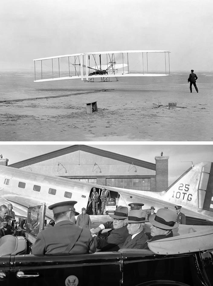 Top: The first flight by the Wright Brothers in Kitty Hawk, N.C. in 1903. Bottom: President Franklin D. Roosevelt tours the U.S. Army Air Corps' Wright Field in 1940, with Orville Wright.