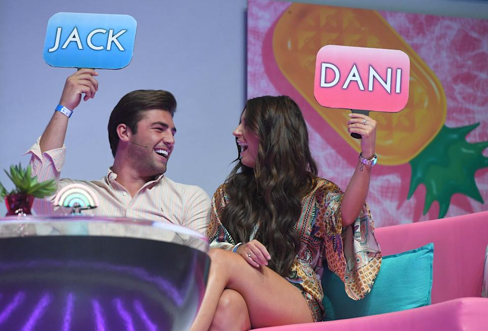 LONDON, ENGLAND - AUGUST 10: Jack Fincham and Dani Dyer during the 'Love Island Live' photocall at ICC Auditorium on August 10, 2018 in London, England. (Photo by Stuart C. Wilson/Getty Images)