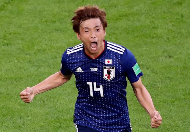 Soccer Football - World Cup - Group H - Japan vs Senegal - Ekaterinburg Arena, Yekaterinburg, Russia - June 24, 2018 Japan's Takashi Inui celebrates scoring their first goal REUTERS/Marcos Brindicci TPX IMAGES OF THE DAY