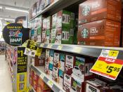 Packs of coffee are seen at a Dollar General store in Norridge, Chicago