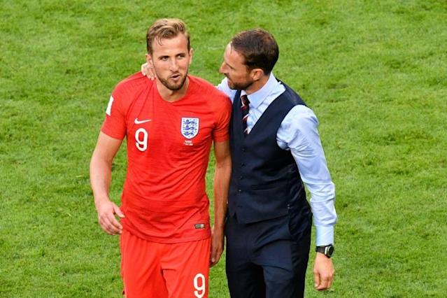 England coach Gareth Southgate and captain Harry Kane celebrate their World Cup quarter-final victory against Sweden