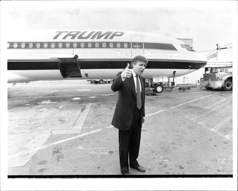 Donald Trump with his private jet on Sept. 13, 1989.